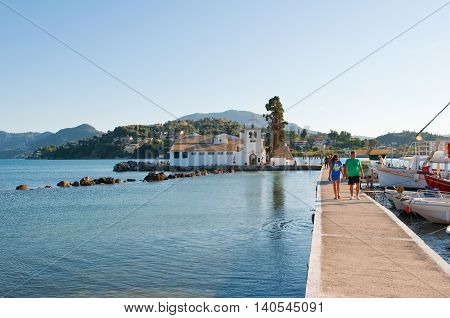 CORFU-AUGUST 22: Chalikiopoulou Lagoon with Vlacheraina monastery on August 222014 on the island of Corfu in Greece.