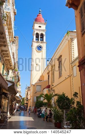 CORFU-AUGUST 24: The bell tower of the Saint Spyridon Church in Kerkyra on August 242013 on Corfu island Greece. The Saint Spyridon Church is a Greek Orthodox church located in Corfu Greece.