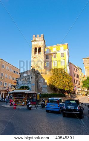 CORFU-AUGUST 27: Kerkyra shadow street in the old town during the midday on August 27 2014 on Corfu island Greece.