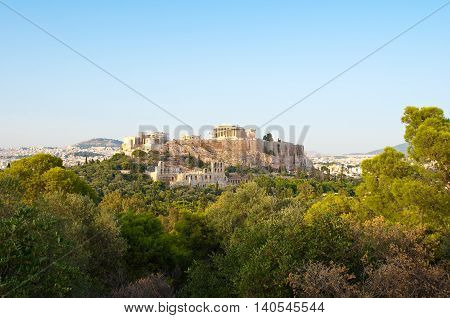 Acropolis of Athens from Filopappos Hill in the evening. Greece.