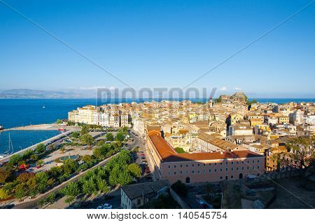 CORFU-AUGUST 22: Panoramic view of Corfu town. View from the New Fortress on August 22 2014 on Corfu island Greece.