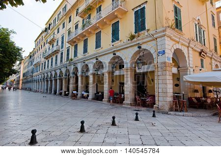 CORFU-AUGUST 22: The Liston of Corfu in Kerkyra city with the row of local restaurants on August 22 2014 on Corfu island Greece.