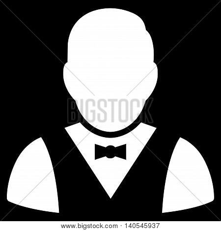 Waiter icon. Vector style is flat iconic symbol with rounded angles, white color, black background.