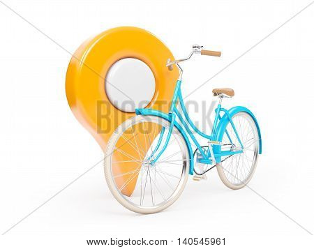 bicycle with sign of map pointer isolation on white. 3d illustration.