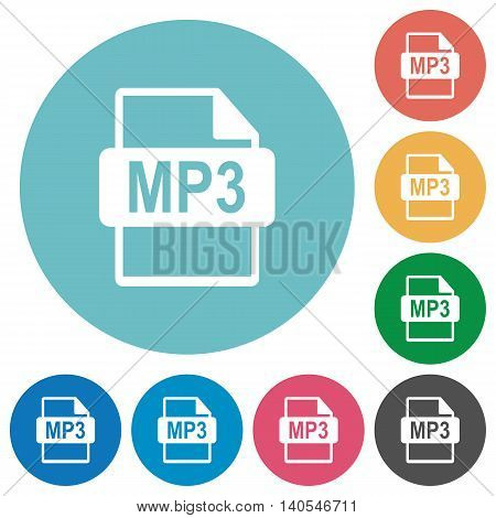 Flat MP3 file format icon set on round color background.