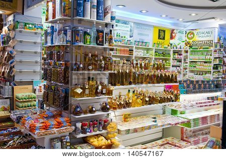 ATHENS-AUGUST 22: Traditional Greek cosmetics displayed for sale in Plaka area on August 22 2014 in Athens Greece. Pláka is the old neighbourhood of Athens clustered around the slopes of Acropolis.
