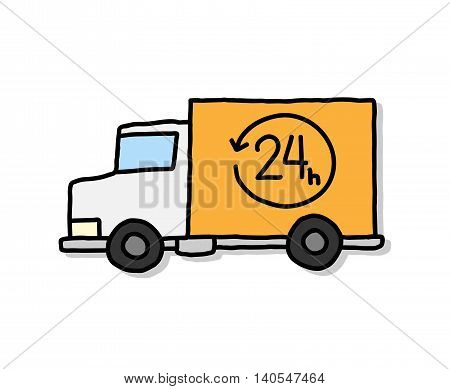 Delivery Van 24 Hour Vector Illustration. A hand drawn vector cartoon illustration of a 24-hour express delivery van.