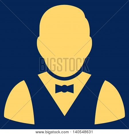 Waiter icon. Vector style is flat iconic symbol with rounded angles, yellow color, blue background.