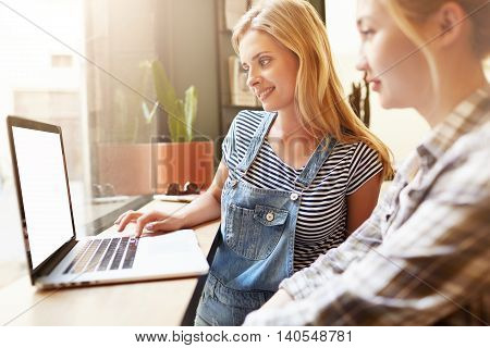 Beautiful Vanilla Shot Of Young Female Friends Sitting In Café With Laptop. Blond Girl With Long Hai