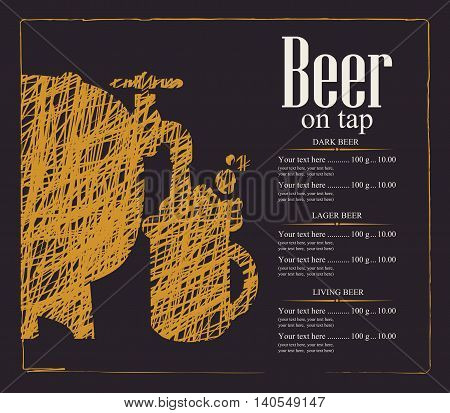 menu with price list for a pub with a beer keg and a glass
