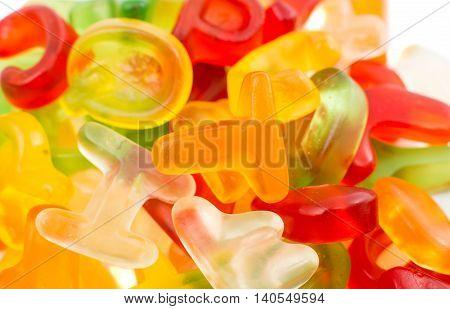 Alphabet jelly candies, decoration color dessert collection