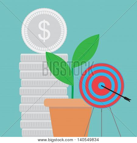 Success and achievement of goal. Business success achievement and growth vector illustration