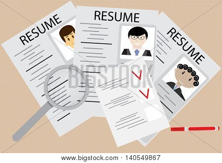 Hiring and employee flat design. Select person choice of candidate for the job. Vector illustration