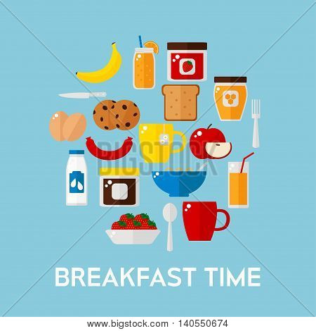 Breakfast food on background. Breakfast food set. Coffee, toast, corn flakes, juice, apple, banana, jam, honey, tea, milk, cookies, eggs, sausage. Flat style vector illustration.