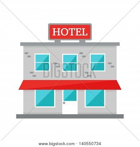 Hotel building. Hotel isolated on white background. City construction element. Flat style vector illustration.