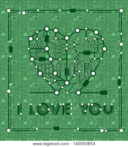 banner from abstract drawing in form heart with elements computer and motherboard  for holiday valentine day
