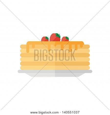 Pancakes isolated icon on white background. Pancakes with honey syrup and strawberry. Breakfast. Flat style vector illustration.