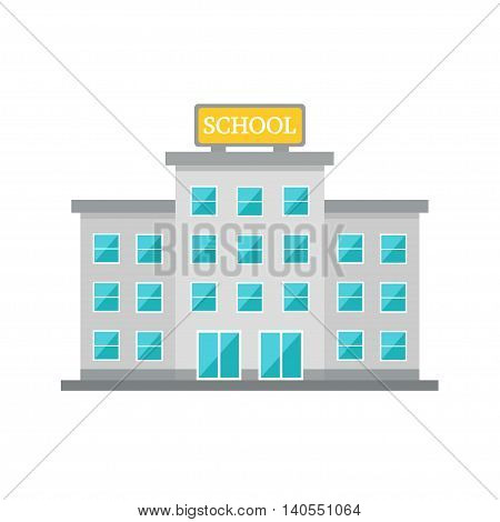 School building. School isolated on white background. Modern building. City construction object. Flat style vector illustration.