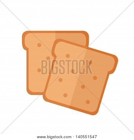 Toast bread isolated icon on white background. Food for breakfast. Flat style vector illustration.