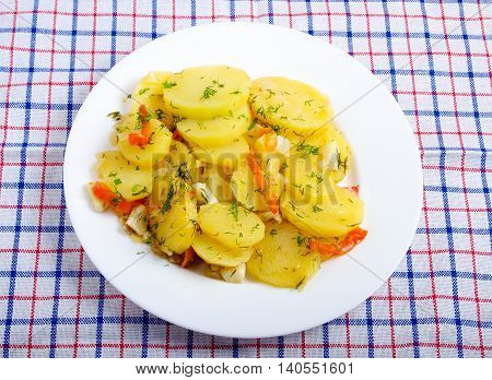 Top View Of A Vegetarian Dish With Braised Potatoes