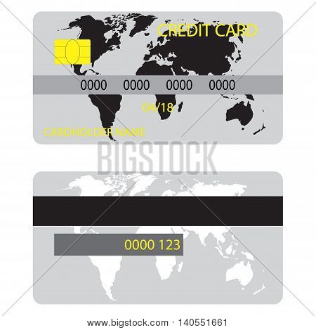 Credit card with silhouette world map. Credit card ico for shopping with money vector illustration