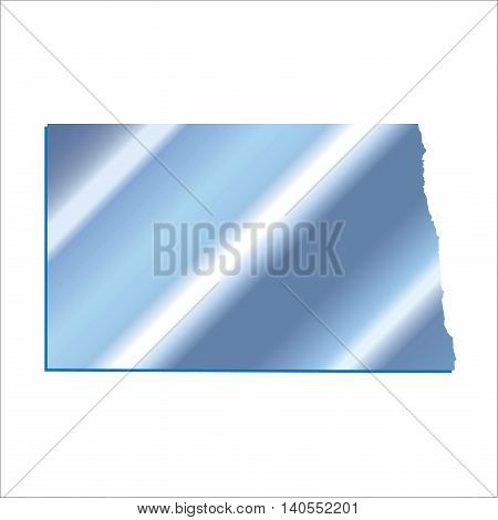 3D North Dakota USA Iridium Blue outline map