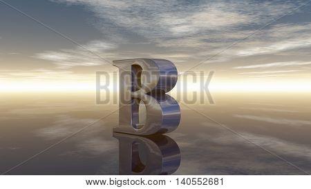 metal uppercase letter b under cloudy sky - 3d rendering