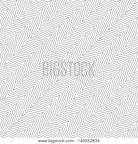 Seamless pattern. Modern geometrical texture. Regularly repeating stylish outline ornament with diagonal broken zigzags. Vector element of graphical design