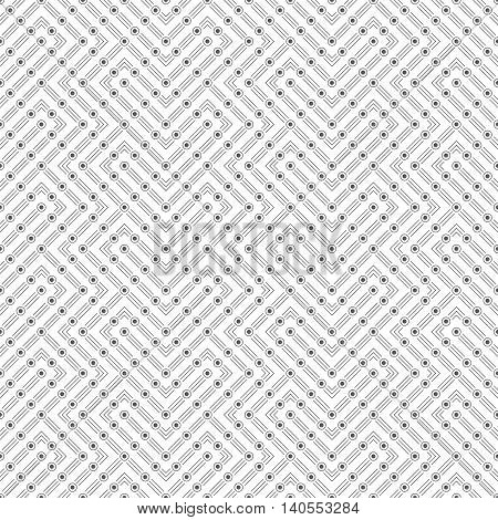 Seamless pattern. Modern stylish texture with thin lines dots. Regularly repeating geometrical tiles with linear dotted zigzags. Vector abstract background