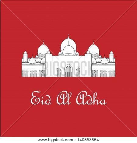 Eid Al Adha mubarak greeting card with white mosque. Vector illustration
