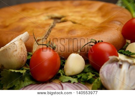 Puff pastry meat pie with vegetables on rustic background
