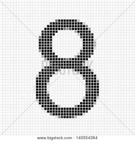 Eight. Simple Geometric Pattern Of Black Squares In Number Eight