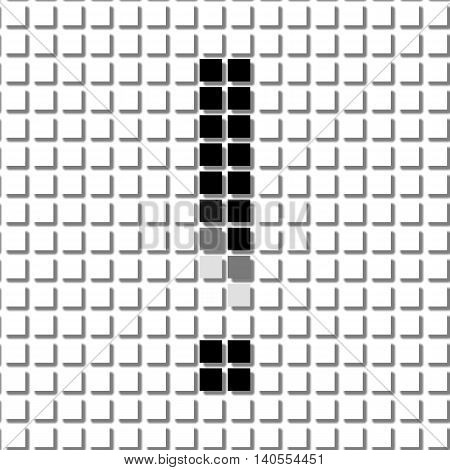 Exclamation Mark. Simple Geometric Pattern Of Black Squares In  Exclamation Mark