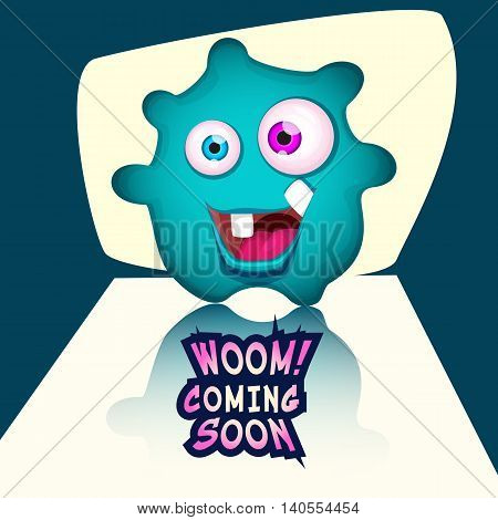 Cartoon happy cute Monster blot coming soon. Vector monster or alien face.