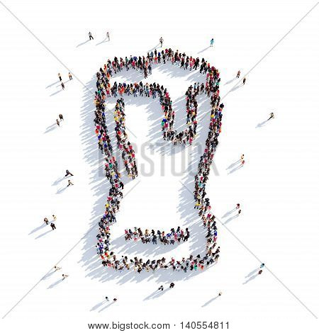 Large and creative group of people gathered together in the shape of a glass of beer. 3D illustration, isolated against a white background. 3D-rendering.