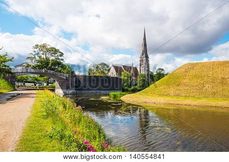 Copenhagen view of the St. Alban church from the Longelinie canal