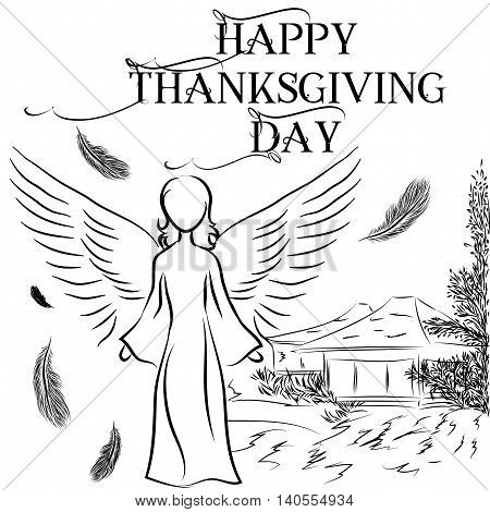 Illustration of greeting card for Thanksgiving Day with the image of an angel and a house which he blessed