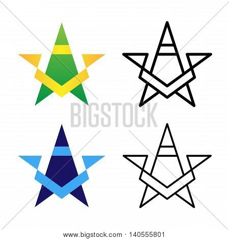 Star Logo Template Set. Colored, Black And White, Gradient Logotype Variants. Vector