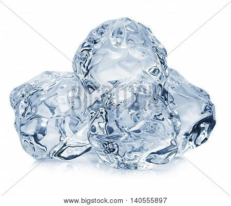 Ice Cubes Close-up Isolated On White Background. Clipping Pats.