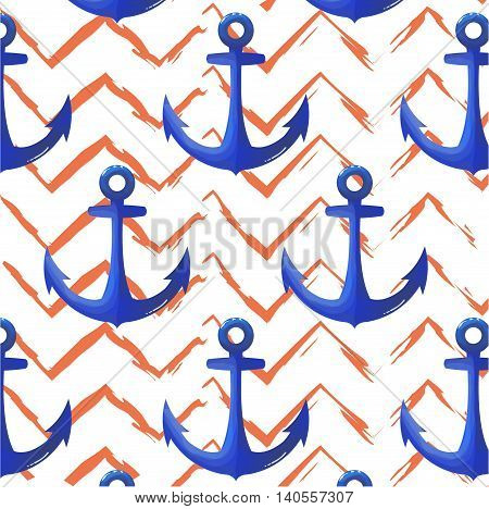 Print anchor blue navy pattern. Chevron orange vector background. Repetition marine texture. Colorful marine cover prenge blue