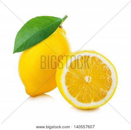 Lemon With Green Leaf Isolated On White Background
