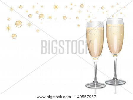 Champagne background with flutes, bubbles and sparkles.