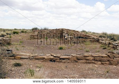 American Indian ruins of the desert dwellings of stone built houses