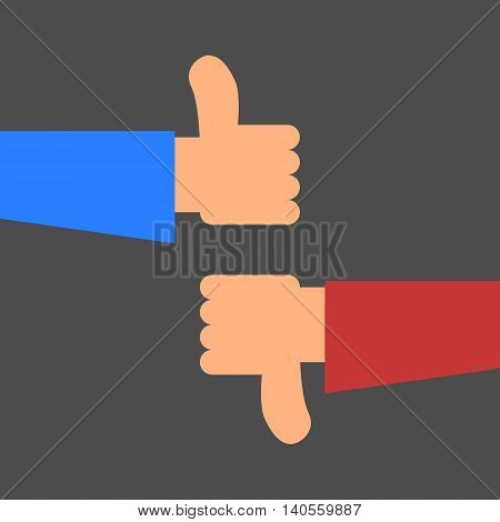 Thumbs up and thumbs down (like and dislike). Internet social network icon. Isolated vector illustration in simple flat style.