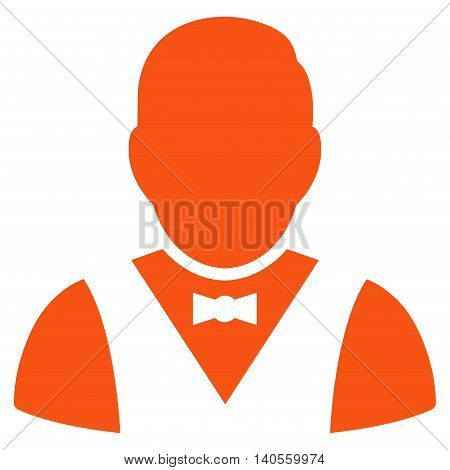 Waiter icon. Vector style is flat iconic symbol with rounded angles, orange color, white background.