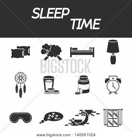 Sleep time icon set. Vector illustration, EPS 10