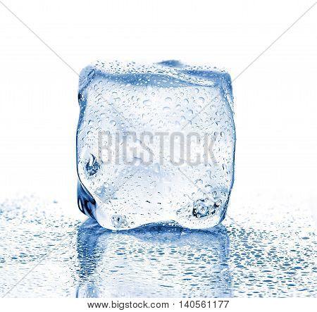 Melting Ice Cube Close-up On A White Background.