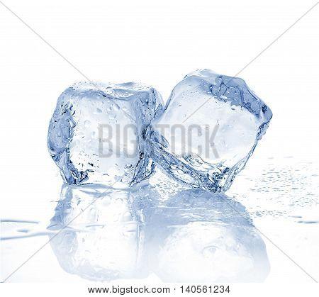Two Melting Ice Cubes On White Background.