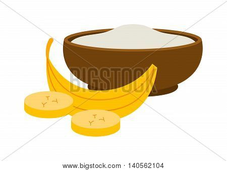 Porridge plate in bowl isolated on white background. Porridge breakfast healthy food and plate dinner. Porridge plate vegetarian groats breakfast