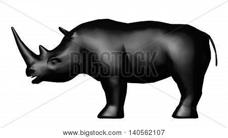 black rhinoceros isolated on white. 3D rendering